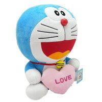 小叮噹週邊商品推薦【真愛日本】17020800003  叮噹坐姿12吋拿愛心-粉   Doraemon 哆啦A夢 小叮噹 公仔娃娃 絨毛娃