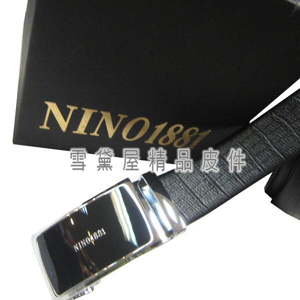 ~雪黛屋~18NINO81皮帶紳士(自動扣)西裝皮帶100%皮最大41腰戴後為外穿附盒BNI101871351200-1