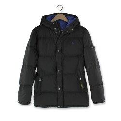 美國百分百【全新真品】Ralph Lauren RL 羽絨 外套 連帽 夾克 Polo 小馬 黑色 男 S號美國青年版 H774