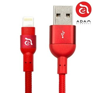 【貝殼】ADAM亞果元素Lightning編織傳輸線Apple充電線MF認證-紅色