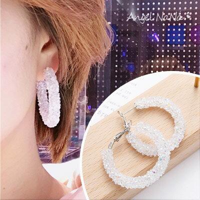 AngelNaNa:耳環-簡約環狀閃亮碎水晶誇張耳針【RA0074】