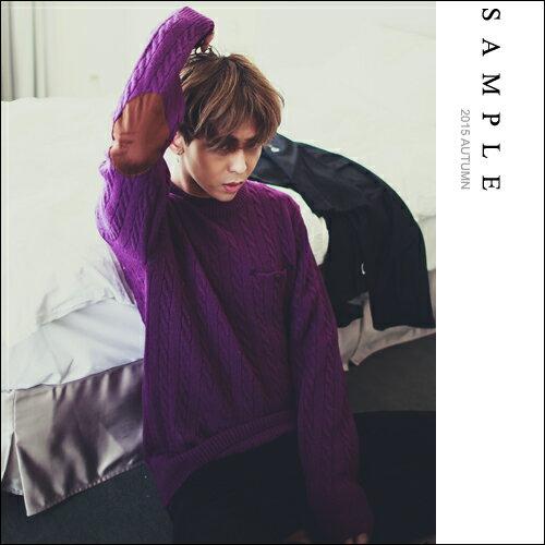 韓國製 粗針織麻花高磅毛衣