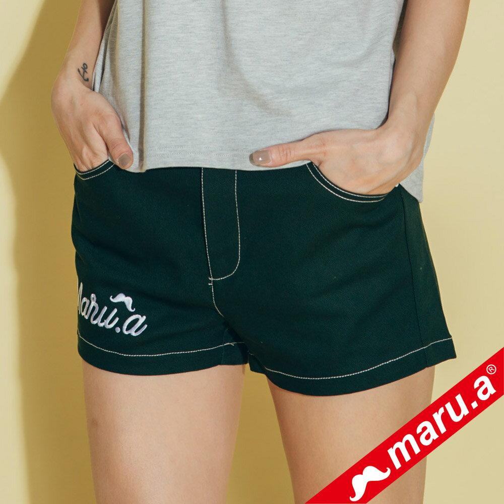 【maru.a】網路限定款*刺繡雙口袋皮標鬆緊帶短褲(2色)8985112 6