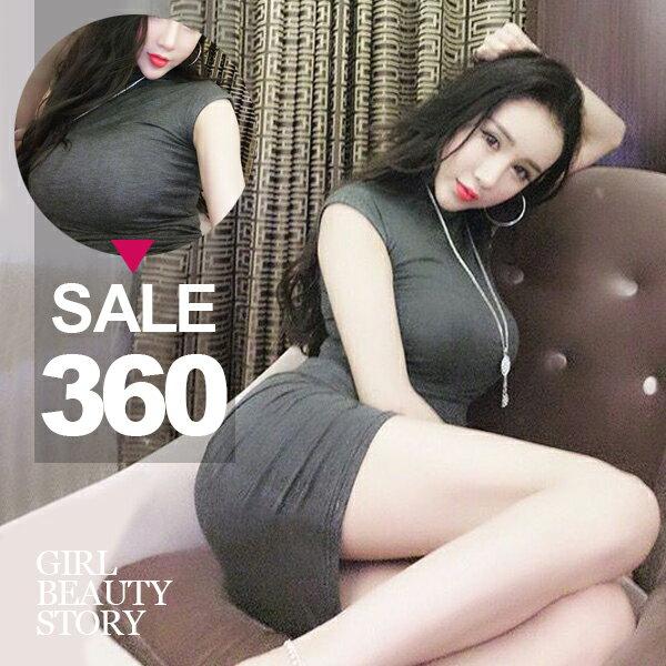SISI~D6211~優雅顯曲線性感半高領無袖背心緊身縮腰包臀連身裙洋裝