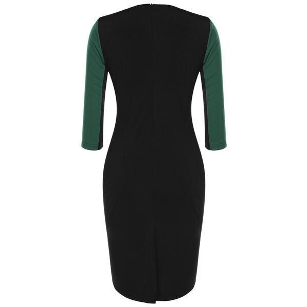 Women Bodycon Slim Patchwork Zipper Elegant Dress 2
