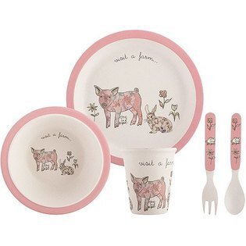 《CreativeTops》兒童竹纖維水杯+叉匙碗盤組(粉紅豬)
