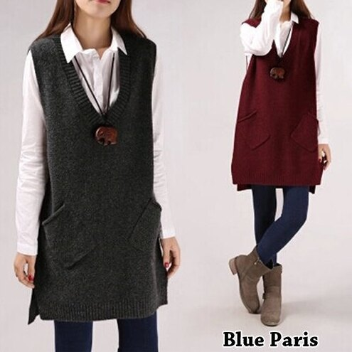 毛衣 學院風V領馬甲針織衫 無袖背心連身裙 寬鬆長版上衣【29157】藍色巴黎《5色》現貨