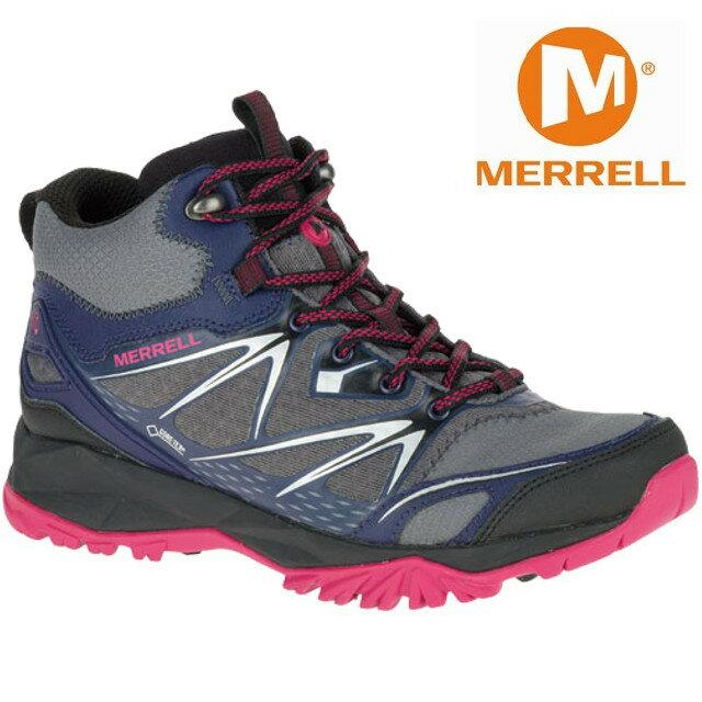 零碼特價 Merrell 中筒登山鞋/健行鞋 防水透氣 CAPRA BOLT MID GORE-TEX® ML35944 女 灰/紫