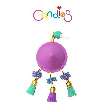 【Candies】圓形鉚釘耳機塞(紫) - 各款手機類型皆適用!!