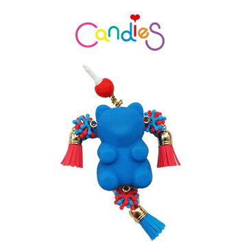 【Candies】小熊流蘇耳機塞(藍) - 各款手機類型皆適用!!