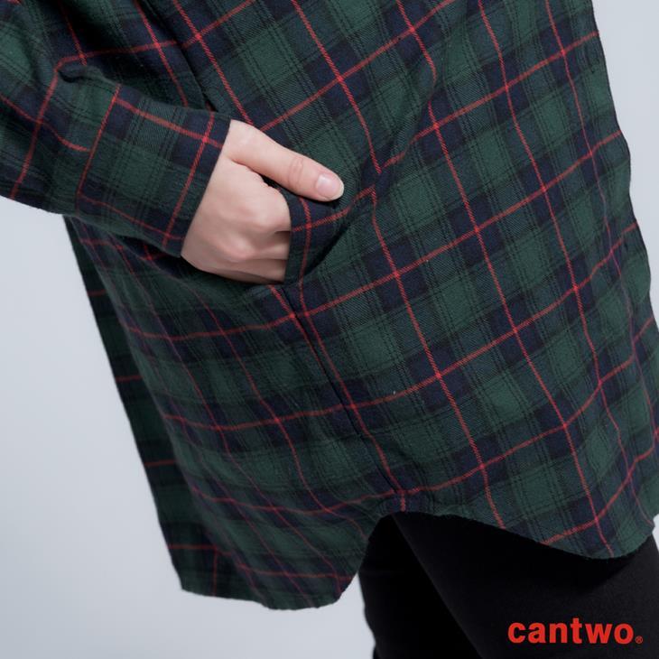 cantwo男友風格紋長版襯衫(共二色) 5
