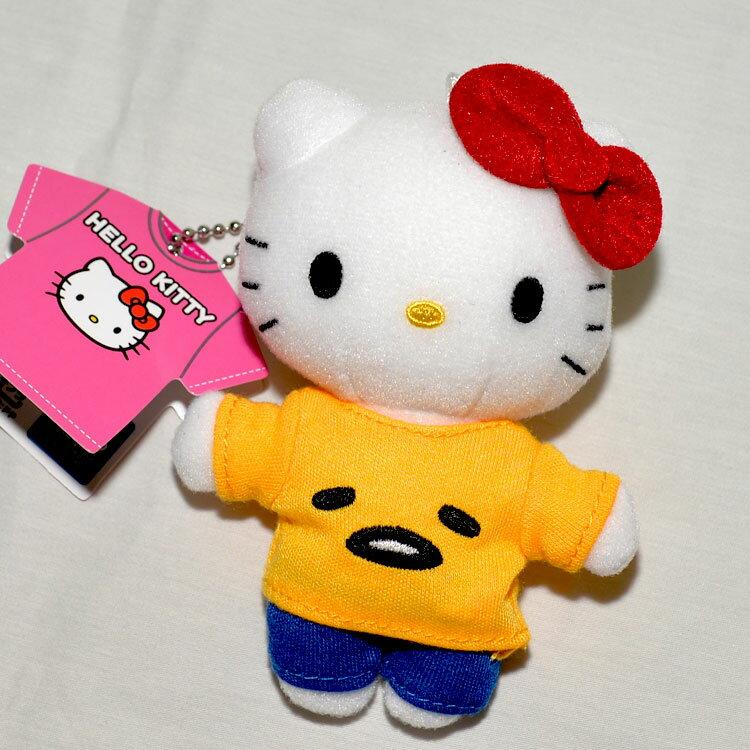Hello Kitty 穿蛋黃哥衣服 小玩偶 吊飾 日本帶回正版品