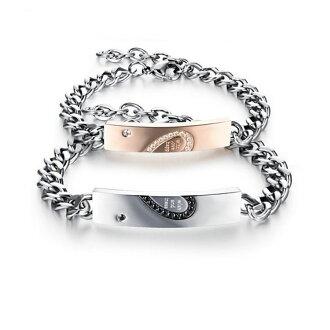 Mao 【5折超值價】情人節禮物最新款日韓風格經典時尚愛心拼圖鑲鑽造型情侶款鈦鋼手鍊