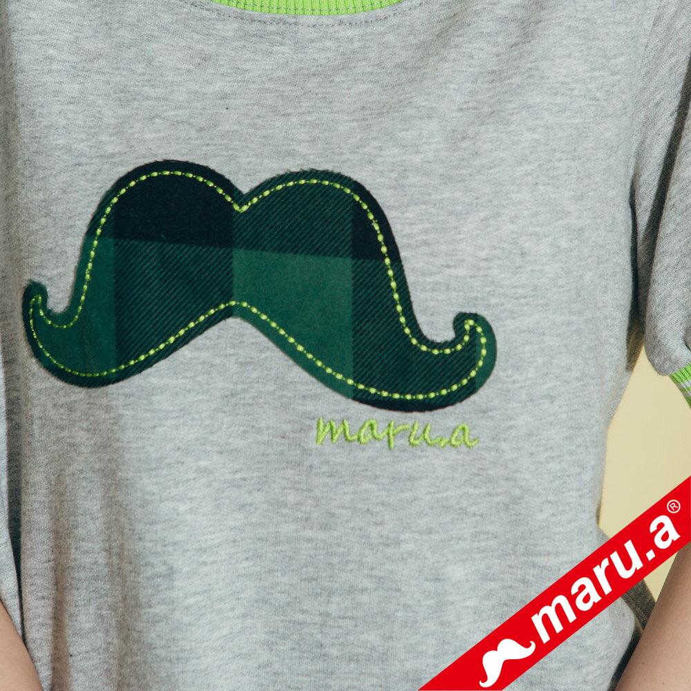 【maru.a】大鬍子撞色羅紋T-Shirt(2色)8321316 5