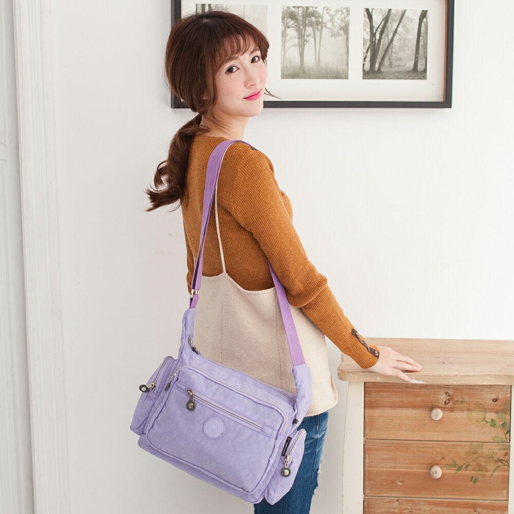 【TOPMAST毛線貓】雙側口袋斜背包#1502(粉嫩紫)