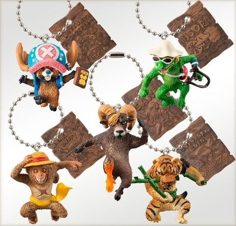 日本限定萬代Bandai海賊王x朝隈俊男動物扭蛋鑰匙圈大全5款ArtistSpecialSwing