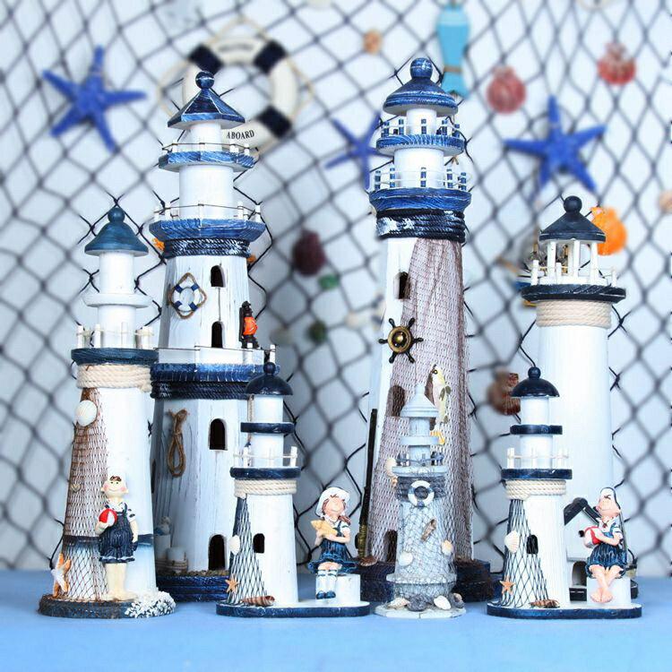地中海木質燈塔擺件船長做舊家居裝飾工藝品創意海洋復古擺設禮物1入