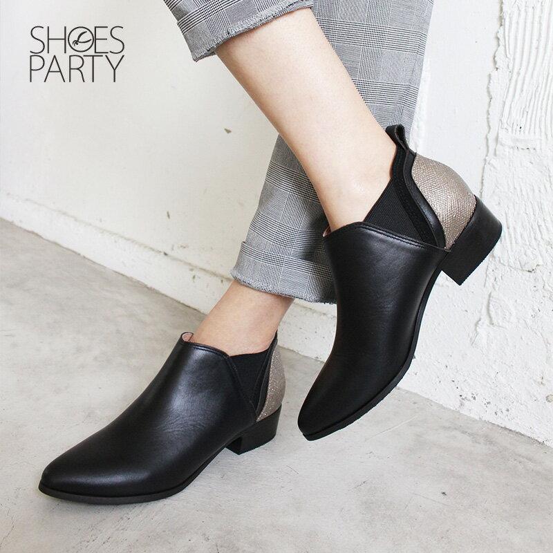 【B2-18719L】多重拼接真皮個性踝靴_Shoes Party 1