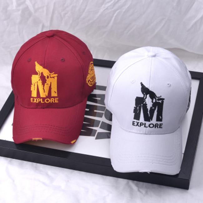 50%OFF【E021213H】韓國秋季新款棒球帽Wolf-M李?宇同款帽子M狼刺繡狼棒球帽