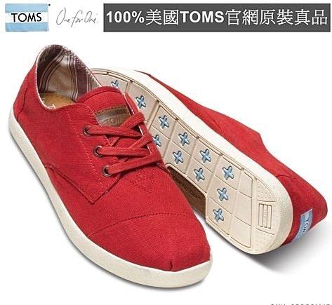 【Cadiz】美國真品正品 TOMS 紅色帆布休閒男鞋 [Red Canvas Men\
