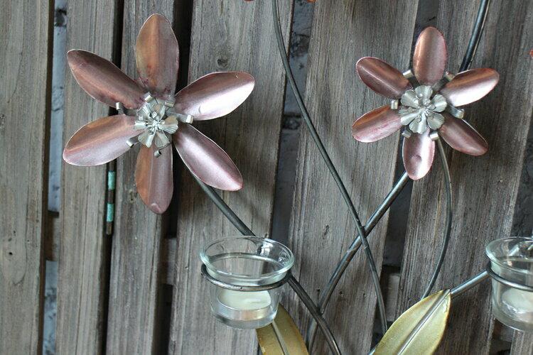 美式鄉村粉色花朵3孔壁飾燭臺 家居裝飾品 仿真花效果 做舊鐵藝1入
