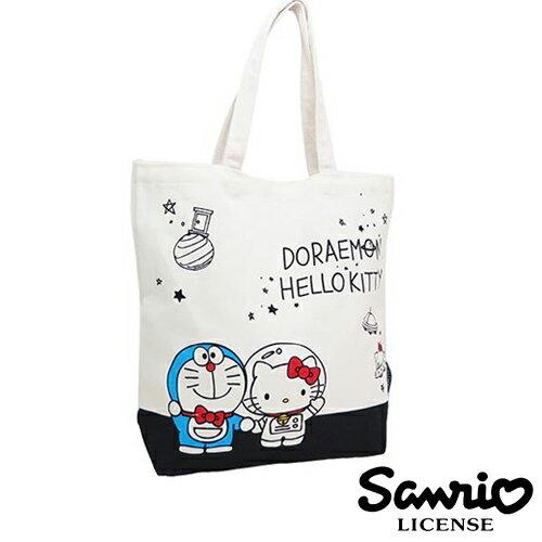 B款【日本進口正版】哆啦a夢 X Hello Kitty 凱蒂貓 小叮噹 帆布 托特包 肩揹包 帆布包 - 419981
