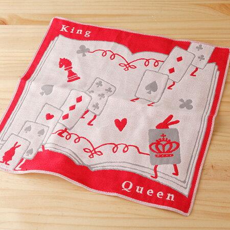 【taoru】愛麗絲的國度|紙牌僕人 - 日本毛巾 28x28cm(方巾、有機棉紗布巾)- 一起夢遊仙境吧!