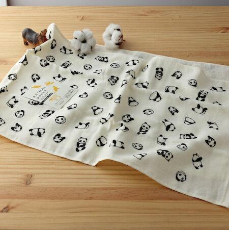 taoru 日本毛巾 動物趴趴走_貓熊咚咚 33*105cm (毛巾 運動巾 紗布毛巾)