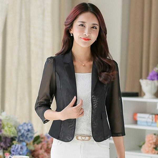 灰姑娘[2836-MH]簡約時尚西裝領網紗OL七分袖西裝外套~