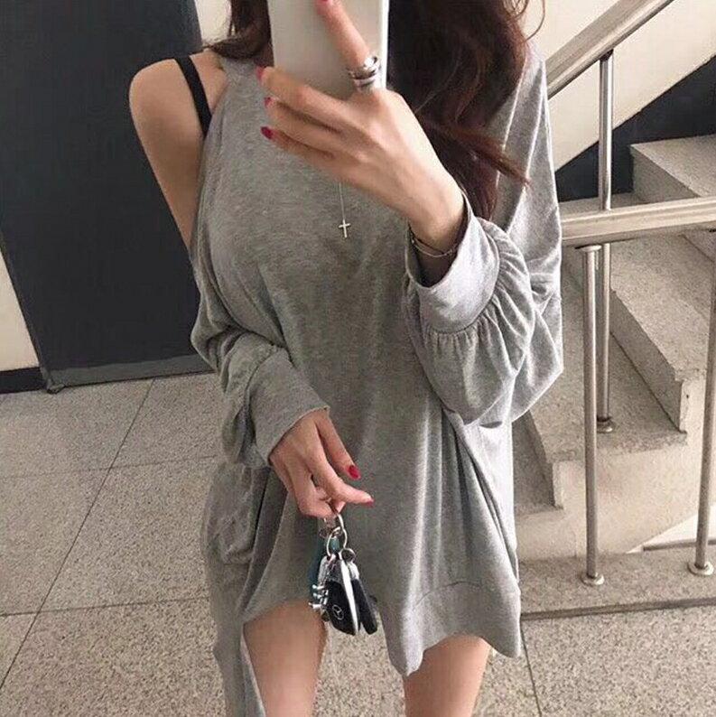 單邊開洞吊帶女裝T恤 特殊設計不對稱露肩蝙蝠袖上衣 艾爾莎【TGK6860】 8