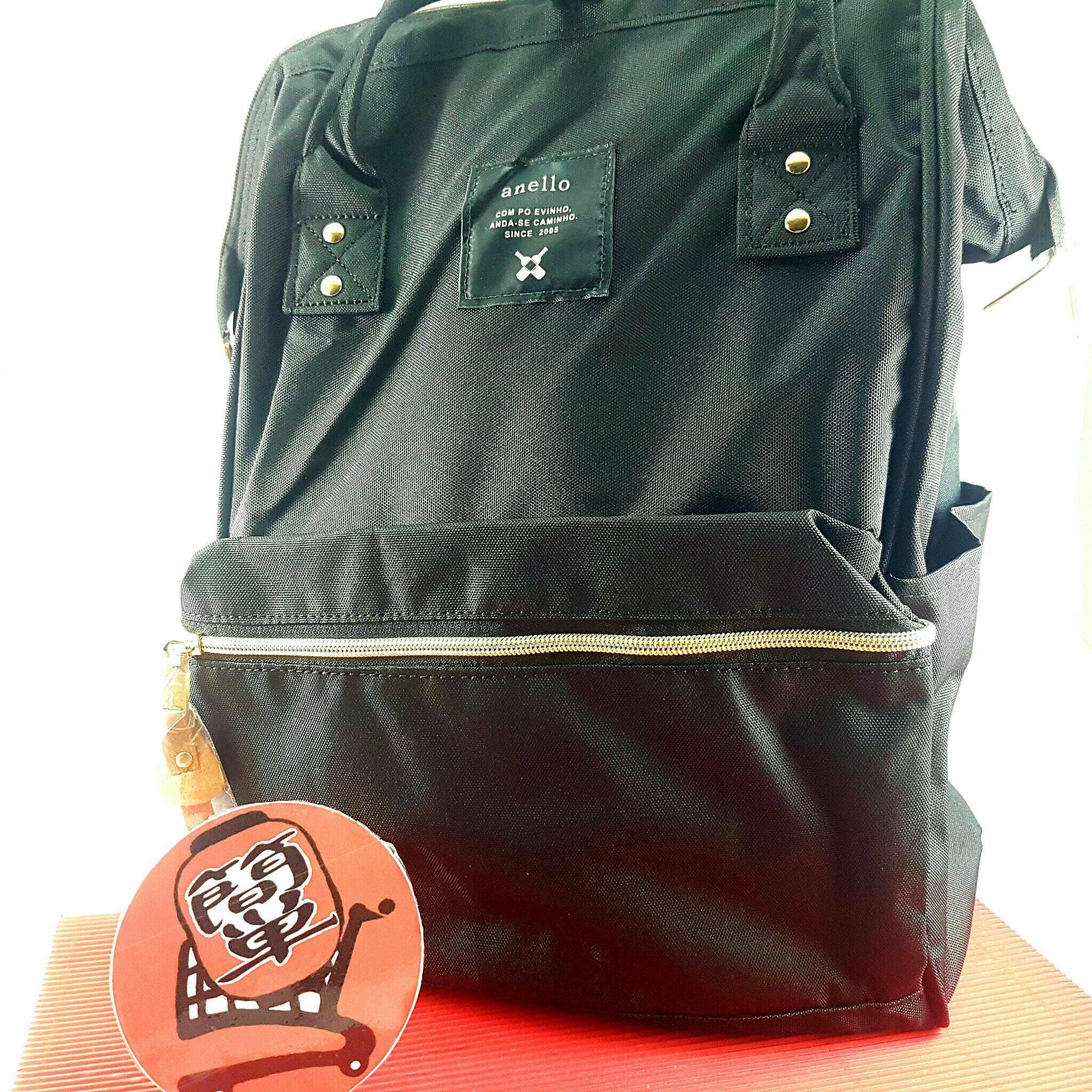 『簡?全球購』大尺寸 黑色 日本anello大開口後背包 2WAY手提包