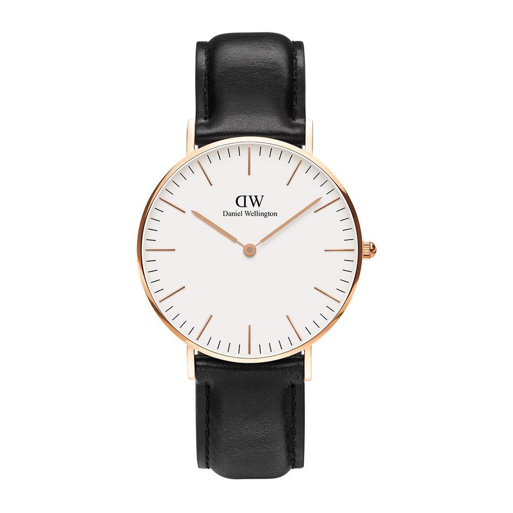 DW Daniel Wellington 精品手錶 白面金框黑錶帶 40mm/36mm (保固一年)