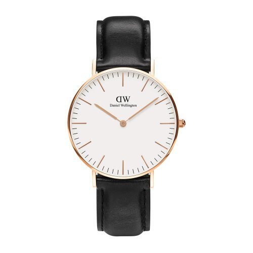 DW 黑/白面金框尼龍錶帶
