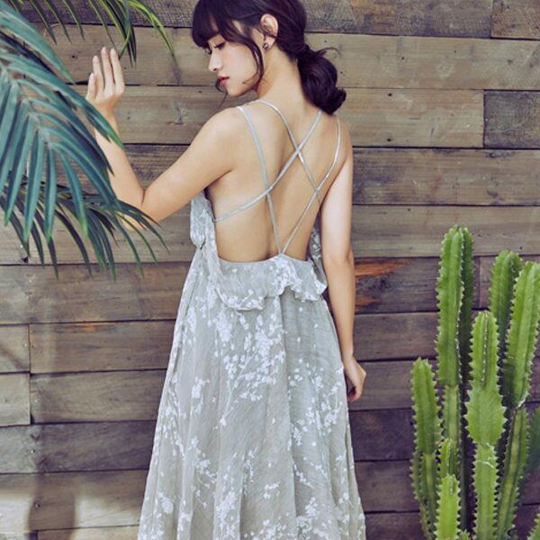 PSMall巴厘島海邊度假沙灘裙大露背吊帶連身裙長裙洋裝【T110】