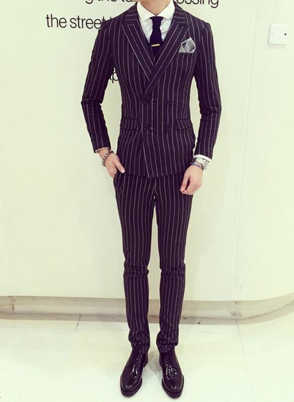 FINDSENSE品牌 韓國男 舒適時尚條紋雙排扣 小西裝 修身西裝 西裝外套 單件外套