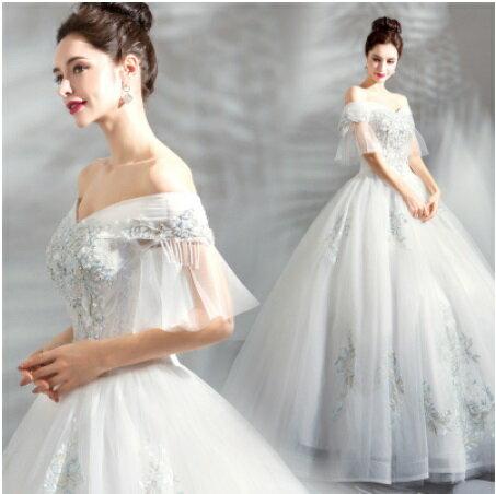 天使嫁衣【AE5156】一字領披肩紗剌繡花點綴齊地白紗禮服˙預購訂製款