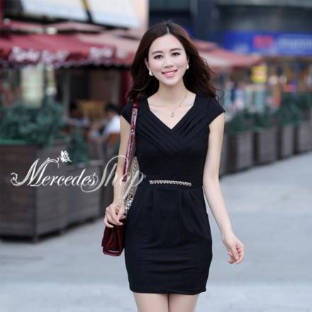 《早春新品5折》早春韓國夏裝短袖修身顯瘦洋裝-梅西蒂絲(現貨+預購)