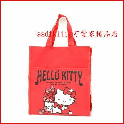 asdfkitty可愛家~KITTY紅蝴蝶結補習袋  便當袋  科任袋~可手提.肩背.斜背