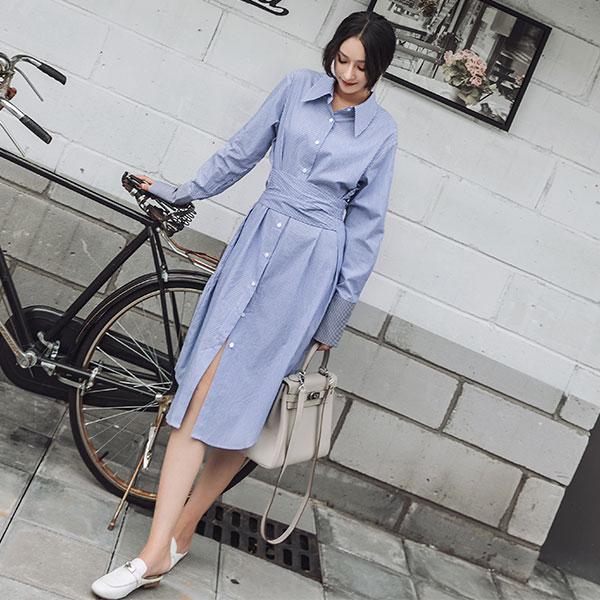 腰綁帶 襯衫 洋裝 長版 連衣裙 條紋 全白 長袖 顯瘦 開岔 氣質 上班族 韓 ANNA S.