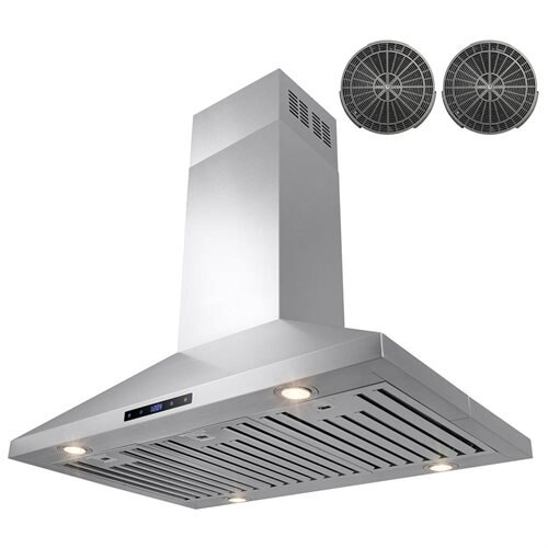"""36"""" Stainless Steel Island Mount Range Hood Touch Screen Display Light Baffle Filter Ductless Vented 2"""