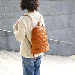 職人手作 職人手染編織牛革大拉鍊立體手提包/後背包Made in Japan by Robita