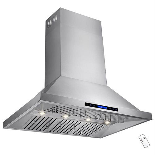 "42"" Stainless Steel Island Mount Range Hood Dual Motor Touch Screen Display Light Lamp 1"