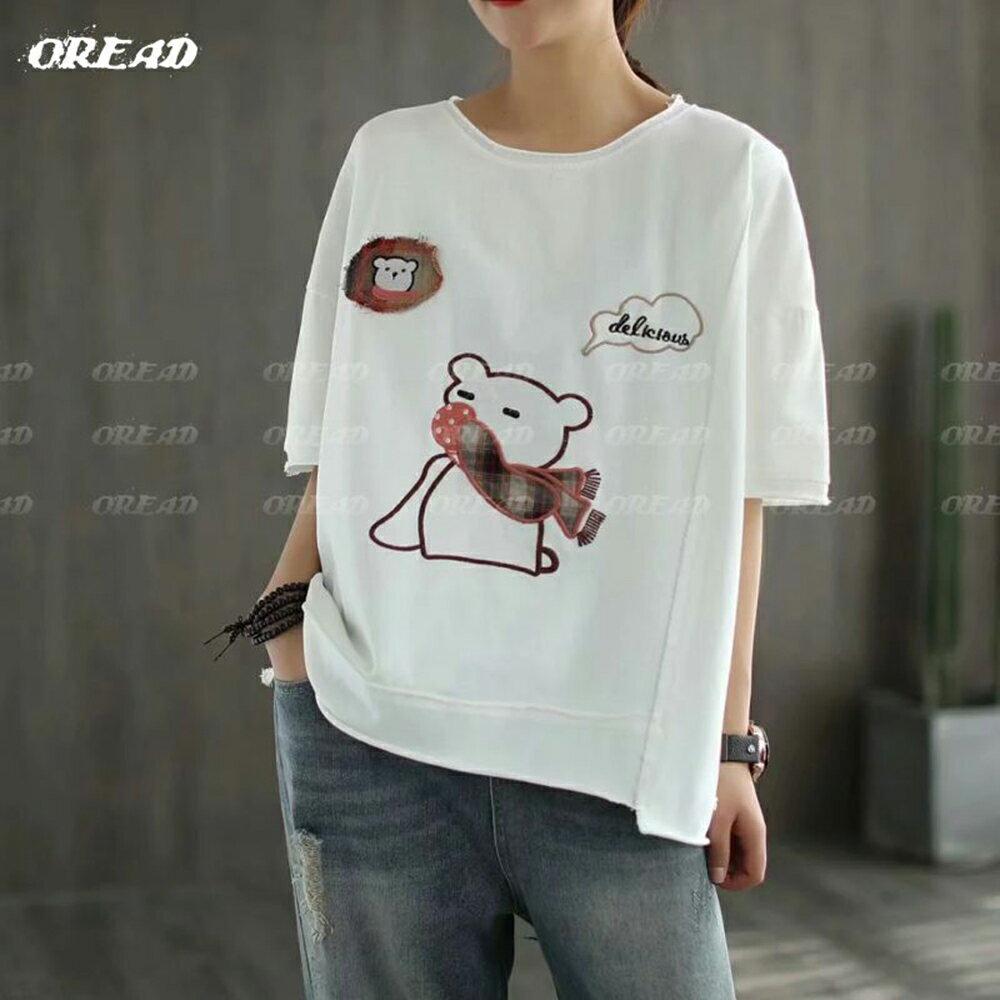 休閒圍巾小熊寬鬆短袖上衣(4色F碼)*ORead* 4