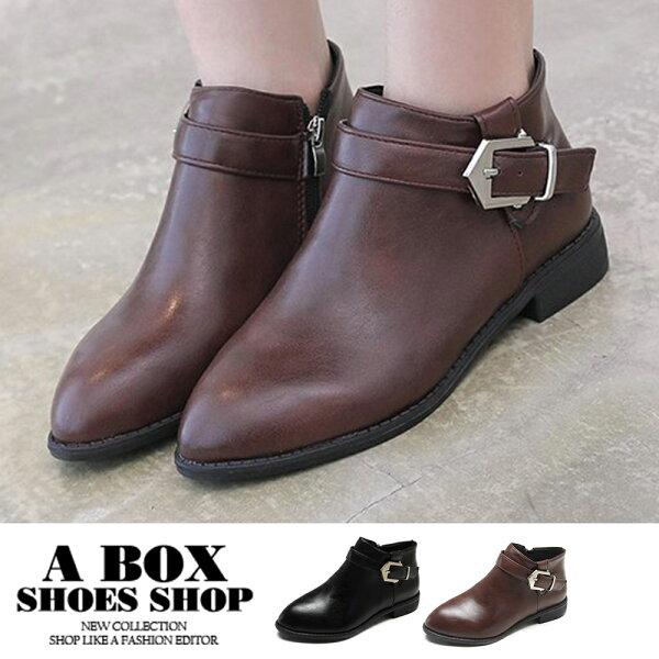 【KW1950】3CM短靴百搭皮革飾釦側拉鍊尖頭短靴低跟2色
