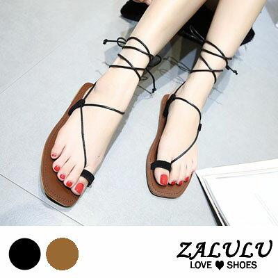 ZALULU愛鞋館 FA039 簡約 款綁腿平底休閒涼鞋~黑  淺棕~35~39