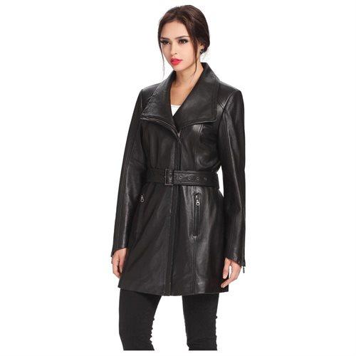 "BGSD Women's ""Fiona"" New Zealand Lambskin Leather Trench Coat 3"