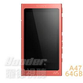 <br/><br/>  【曜德★好禮回饋】SONY NW-A47 紅 觸控藍芽 A40系列數位隨身聽 64GB ★ 免運 ★ 送束口袋+專用保護貼<br/><br/>
