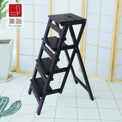 實木家用多功能折疊梯子三步梯椅梯凳室內登高梯木梯子置物架 萬聖節鉅惠