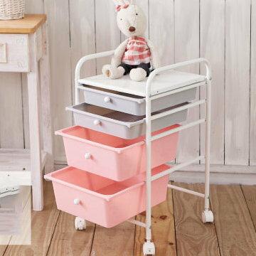 糖果雙色四層抽屜車 2大2小 玩具收納箱 置物箱 收納盒 房間收納整理箱【YV7842】HappyLife