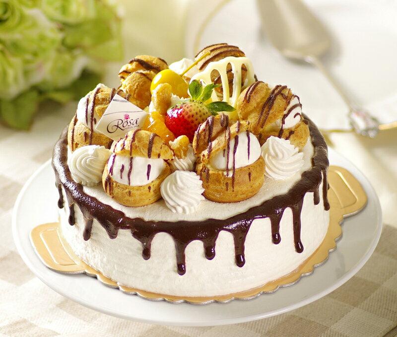 【羅撒蛋糕】母親節蛋糕~「城堡」|卡士達泡芙鮮奶油蛋糕|6吋~10吋